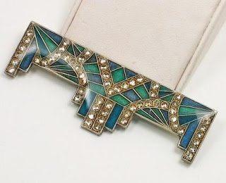 Vintage Art Deco Pierre Bex-style geometric rhinestone brooch.
