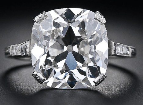 6.48 carat antique cushion cut diamond ring. Via Diamonds in the Library.