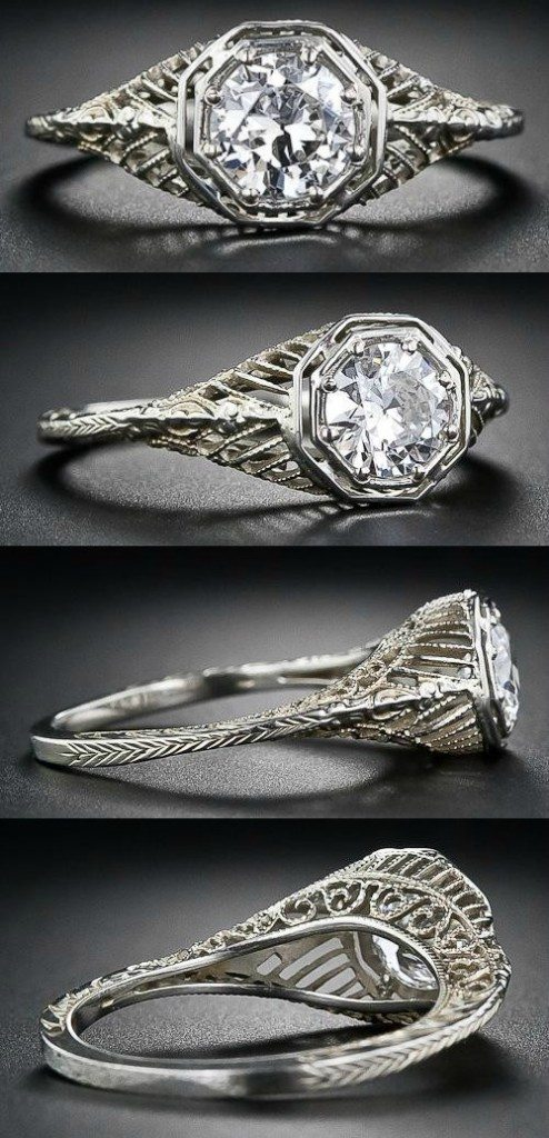 A 1920's filigree engagement ring from the Art Deco era.