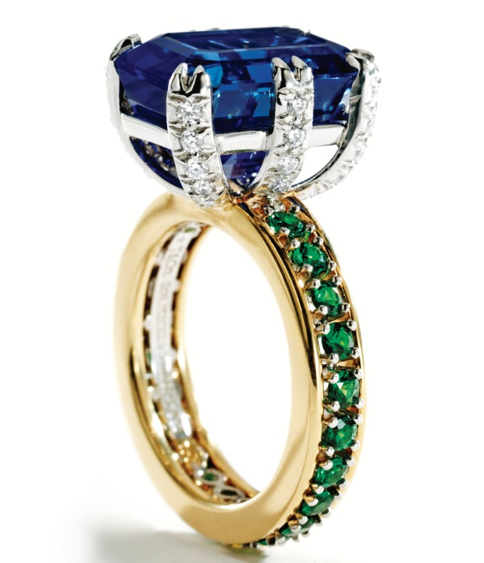 A sapphire, tsavorite garnet and diamond ring, Schlumberger for Tiffany & Co. Via Diamonds in the Library.