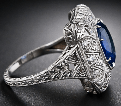 Alternate view; an early Art Deco sapphire and diamond filigree ring. Via Diamonds in the Library.