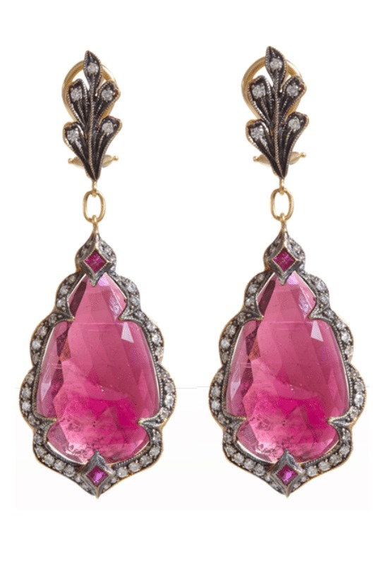 Cathy Waterman pink sapphire earrings with diamonds. Via Diamonds in the Library.