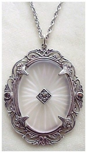 Large Art Deco sterling & marcasite camphor glass pendant necklace
