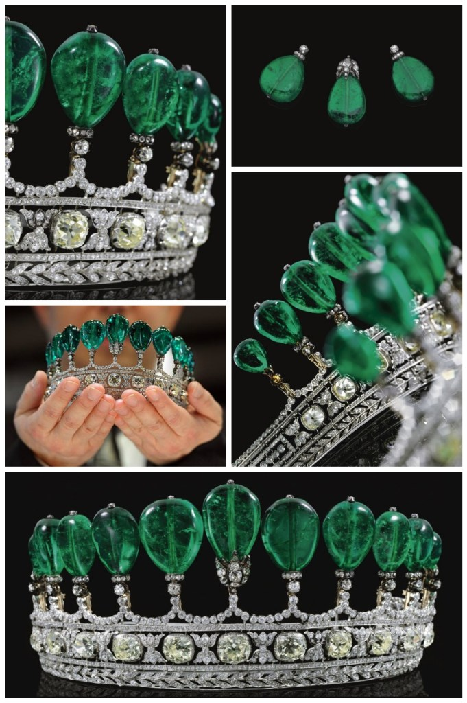 Multiple views: Magnificent and rare antique emerald and diamond royal tiara. Via Diamonds in the Library.
