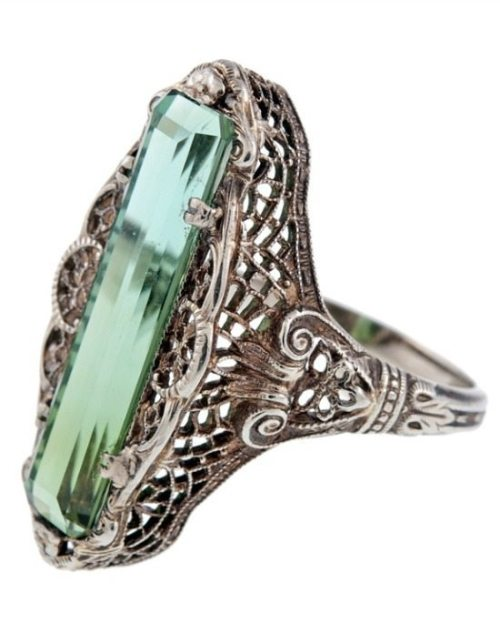 Shoulder view: Antique green tourmaline filigree ring, circa 1880. Via Diamonds in the Library.