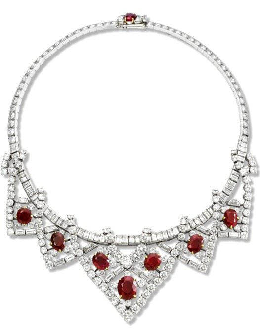 This necklace, made by Cartier Paris in 1951 and modified in 1953, was a gift to Elizabeth Taylor from her husband of the moment, Mike Todd.