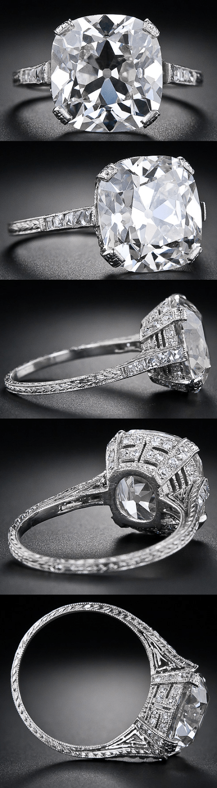 Multi view: 6.48 carat antique cushion cut diamond ring. Via Diamonds in the Library.