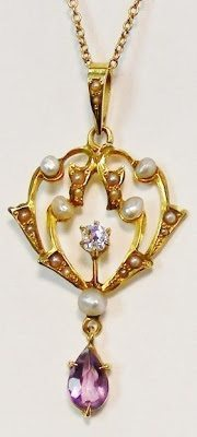 Victorian amethyst, diamond, and seed pearl lavaliere necklace.