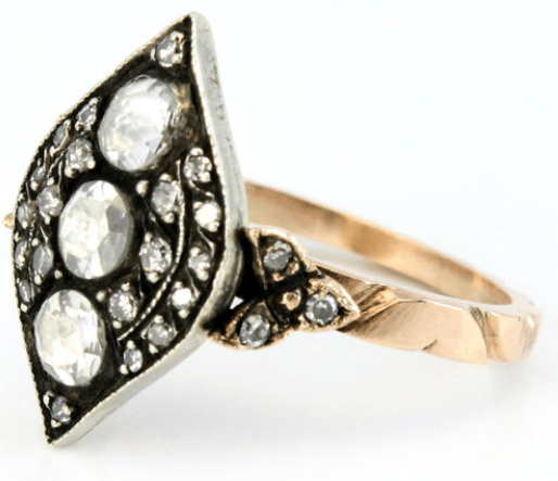 14K rose gold antique silver rose cut diamond Georgian style 1930s wedding ring. Via Diamonds in the Library.