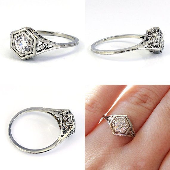 18K Art Deco filigree european cut antique diamond engagement ring. Via Diamonds in the Library.