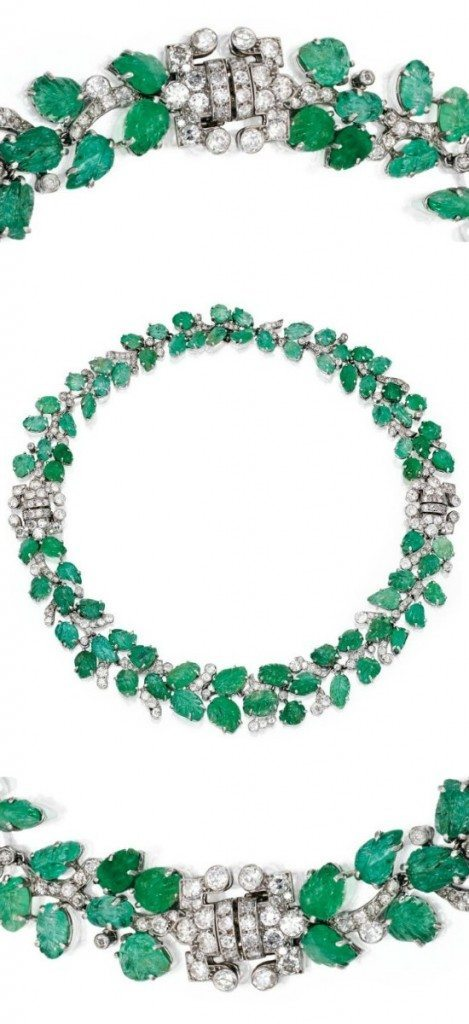A stunning Art Deco emerald and diamond necklace that can be converted into two bracelets, circa 1930. Via Diamonds in the Library.