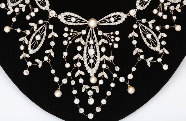An antique diamond, pearl, platinum and gold necklace. Made in France, circa 1920. Via Diamonds in the Library.