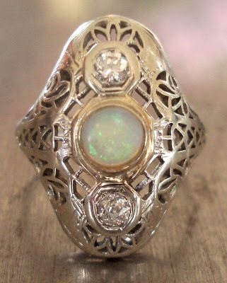 Antique Diamond and Opal Edwardian Ring