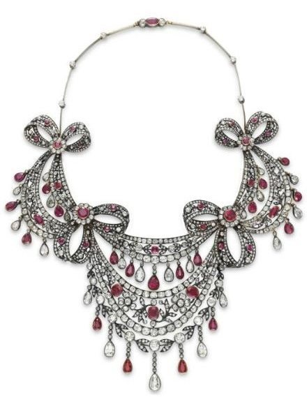 Antique diamond and ruby festoon necklace, circa 1860. Via Diamonds in the Library.