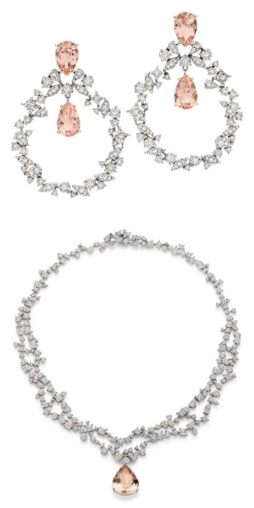 Brumani Sissi Collection morganite and diamond earrings and necklace. Via Diamonds in the Library.