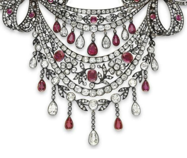 Detail; an antique diamond and ruby festoon necklace, circa 1860. Via Diamonds in the Library.