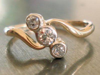 Engagement Ring - Antique Diamond in Art Nouveau Style
