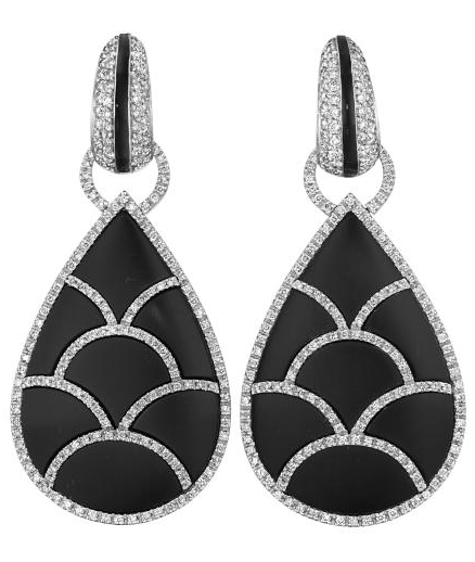 Jet and diamond earrings by Enigma. Via Diamonds in the Library.