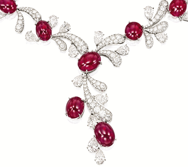 Necklace detail - Ruby and diamond fireworks set by James W. Curren for Faidee. Via Diamonds in the Library.