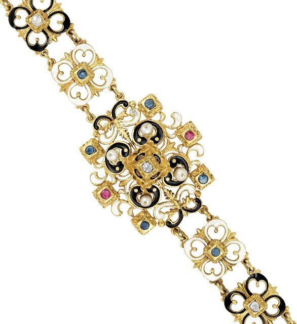 Victorian enamel, diamond, gem-set and pearl bracelet, circa 1880. Via Diamonds in the Library.