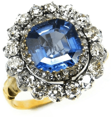 19th century sapphire and diamond cluster ring, circa 1880. Via Diamonds in the Library.