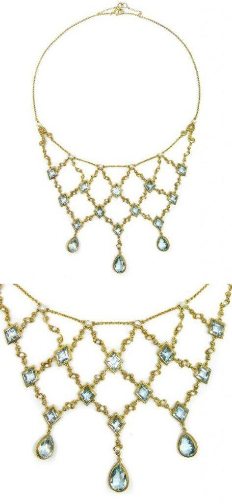 Antique gold filigree, aquamarine, and pearl necklace, circa 1890. Via Diamonds in the Library.