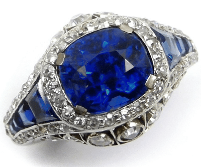 Art Deco sapphire and diamond ring, circa 1925. Via Diamonds in the Library.