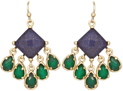 Avon Earrings; lapis and green dyed onyx. By Kendra Scott. Via Diamonds in the Library.