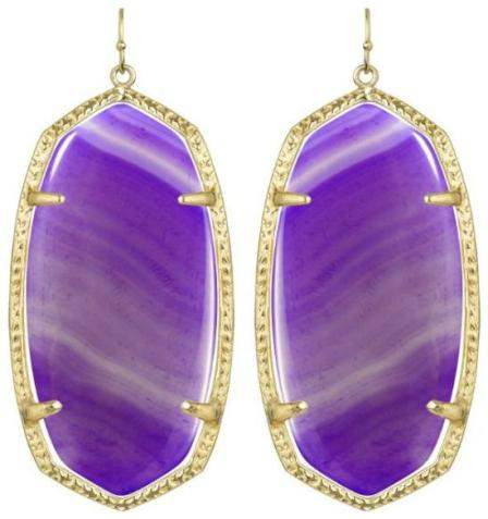 Danielle earrings in purple agate. By Kendra Scott. Via Diamonds in the Library.