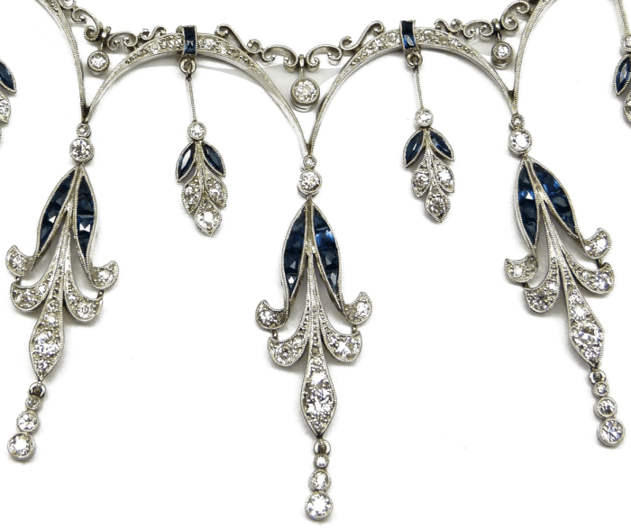Detail of Belle Epoque diamond and sapphire fringe necklace. French, circa 1900. Via Diamonds in the Library.