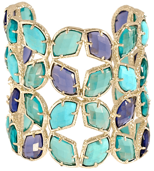 Iris Paley Cuff; dyed magnesite, dyed quartz. By Kendra Scott. Via Diamonds in the Library.