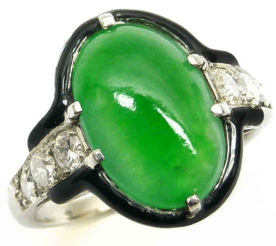 A jade, diamond, and enamel ring by Cartier.