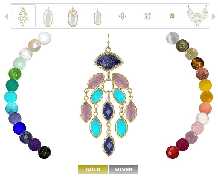 Kendra Scott jewelry color bar.