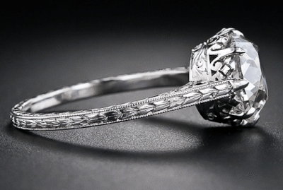 2.90 carat antique cushion-cut diamond engagement ring, circa 1915. Side view. Via Diamonds in the Library.