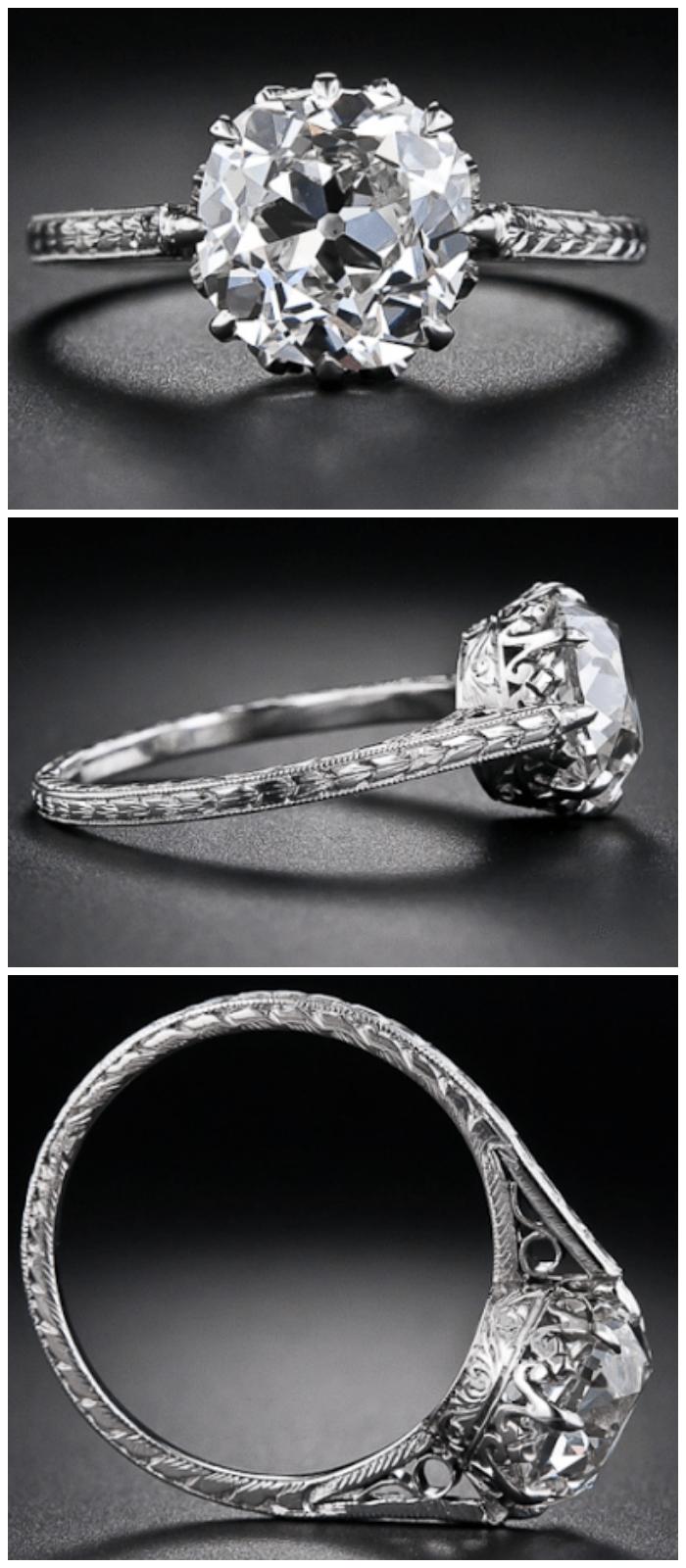 A 2.90 carat antique cushion-cut diamond engagement ring, circa 1915. Via Diamonds in the Library.