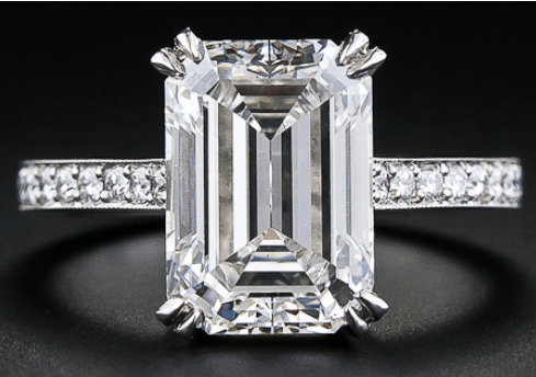 A 4.00 carat emerald-cut diamond engagement ring.