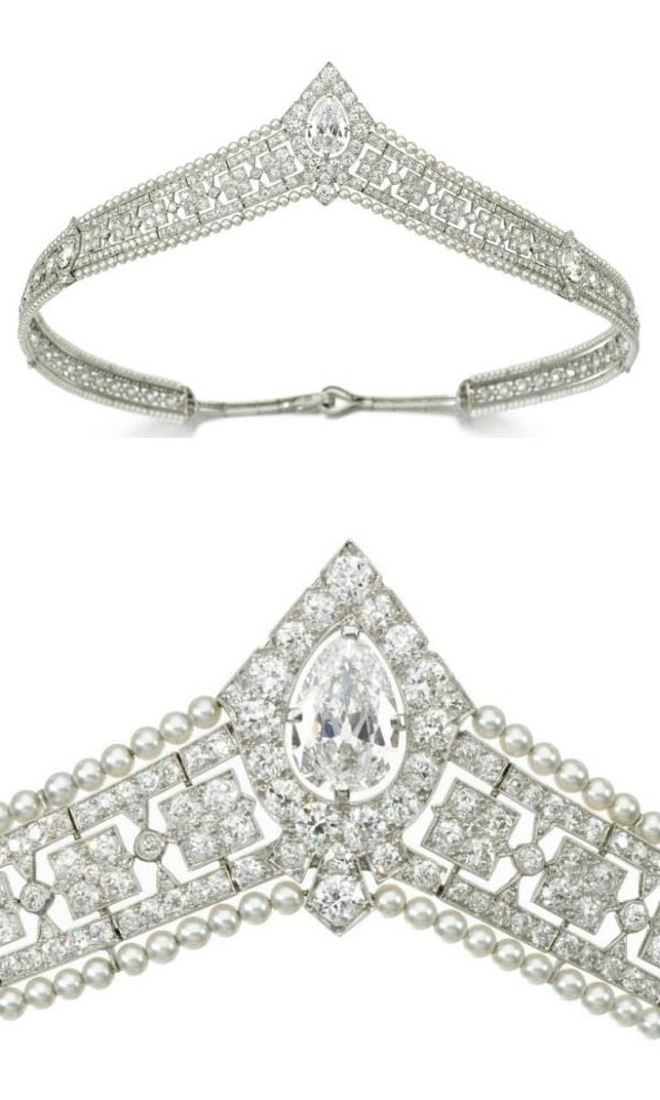 An antique seed pearl and diamond bandeau tiara, circa 1915. Via Diamonds in the Library.