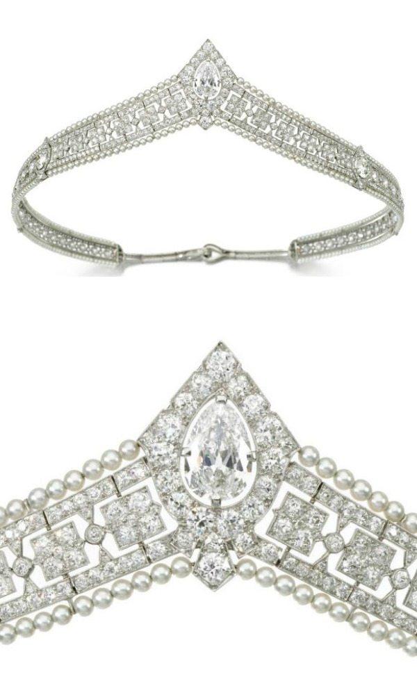 An antique seed pearl and diamond bandeau tiara, circa 1915. Via Diamonds in the Library.