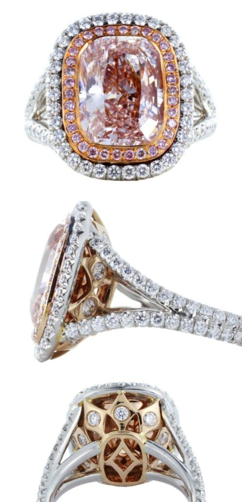 An incredible 4.36 carat pink diamond ring in white and yellow gold, set all over with tiny glittering white diamonds.