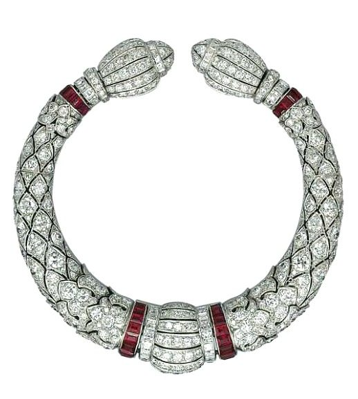 Art Deco diamond and ruby bracelet by Lacloche, circa 1920's. Via Diamonds in the Library.