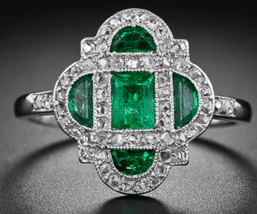 Art Deco emerald and diamond ring, circa 1920. Via Diamonds in the Library.