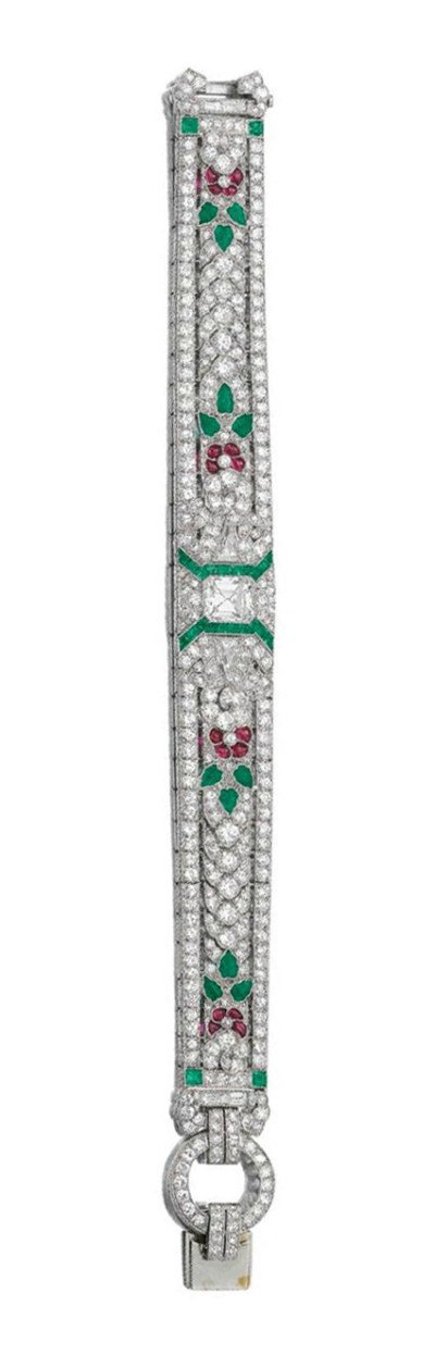 Art Deco emerald, ruby and diamond bracelet, Oscar Heyman and Bros. Circa 1935. Via Diamonds in the Library.