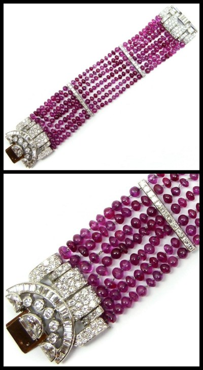 Art Deco ruby bead and diamond cluster bracelet by Van Cleef & Arpels. Circa 1934. Via Diamonds in the Library.