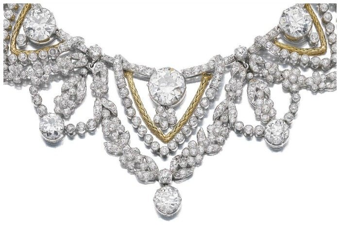Detail Spectacular gold and diamond necklace by Marchak. Via Diamonds in the Library.