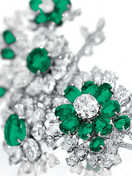 Detail - floral brooch from Elizabeth Taylor's Bulgari emerald and diamond suite, circa 1960. Via Diamonds in the Library.