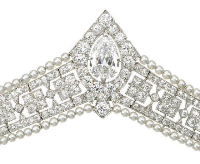 Detail view of a seed pearl and diamond bandeau tiara, circa 1915. Via Diamonds in the Library.
