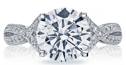 Diamond engagement ring from Tacori's Ribbon collection. Via Diamonds in the Library.