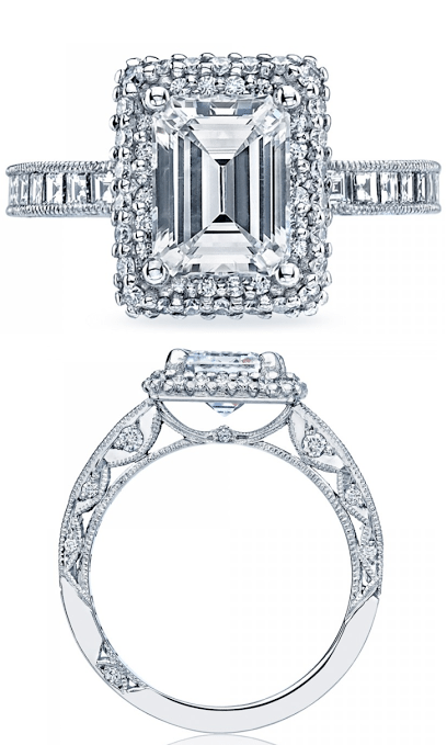 Emerald cut diamond engagement ring from Tacori's Blooming Beauties collection. Via Diamonds in the Library.