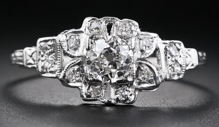 Floral Art Deco engagement ring, circa 1930's. Via Diamonds in the Library.