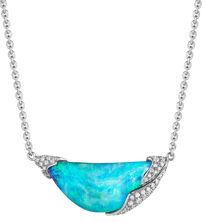 Mimi So's ZoZo Boulder Opal and Diamond Necklace. It centers a 12.3 carat boulder opal capped with 18 karat white gold and .55 carats of pave diamonds.